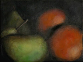 Poires_et_oranges    /  huile sur toile  /    18 x 24