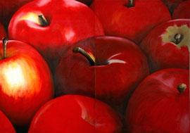 Pommes_rouges-Diptyque     /  huile sur toile  /    70 x 50 x 2