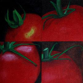 Petit_Tomate-1-2-3-4    /  huile sur toile marouflée /    (14 x 14) x 4