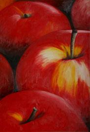 Pommes_rouges    /  huile sur toile  /    74 x 50