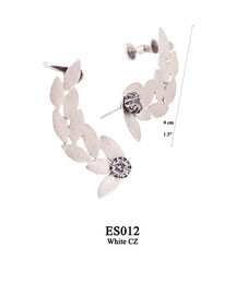 ES012 OXI 185, GP 205: EARRING POST, WITH WHITE CZ IN CUP, SOLID LOTUS FLOWERS 4CM W/ SCREW BACK FOR TOP OF EAR.