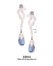 ES016 OXI 120, GP 140:  EARRING POST,  WHITE CZ IN CUP, SOLID LOTUS FLOWER WITH GREY BLUE AL DROP.