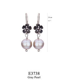 E3738: OXI 34, G OF E OXI HANGING EARRING WITH FILIGREE FLOWER GRAY PEARL DROP.