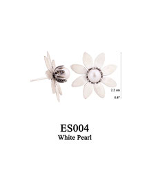 ES004 OXI 59, GP 69:  EARRING POST, SOLID LOTUS FLOWER WITH WHITE PEARL IN CENTER.