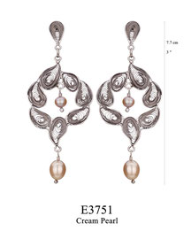 E3751: OXI 99, G OF E OXI POST EARRING 7 TEARDROP SHAPE  FILIGREE AROUND CREAM PEARL CENTER, CREAM PEARL DROP.