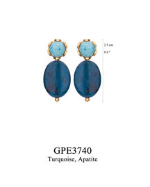 GPE3740: GP 45, G OF E GP EARRING POST TURQUOISE IN CUP APATITE DROP.