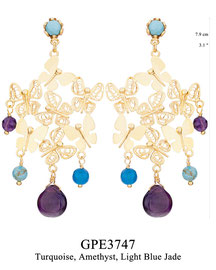GPE3747: GP 139, G OF E GP POST EARRING TURQUOISE IN CUP. LACE & SOLID BUTTERFLIES. TURQUOISE, AMETHYST & LIGHT BLUE