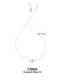 CS006 OXI 59, GP 69: CHAIN CRYSTAL NEAR CLASP, WITH SOLID LOTUS FLOWER PENDANT WHITE CZ IN CENTER.