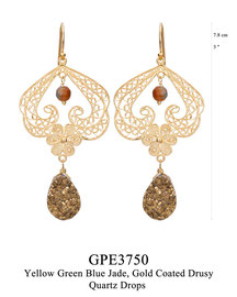 GPE3750: GP 139, G OF E GP HANGING EARRING FILIGREE SWIRLS W/FILIGREE FLOWER IN THE CENTER YELLOW GREEN BLUE JADE CENTER, GOLD COATED DRUSY QUARTZ DROP BOTTOM.