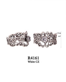 R4161 OXI 67: FILIGREE RING, LOTUS FLOWER W/ WHITE CZ IN CENTER CUP.