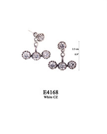 E4168 OXI 65, GP 75: EARRING POST, WITH WHITE CZ IN CUP, 3 HOLE BAR FILIGREE LOTUS FLOWER W/ 3 WHITE CZ IN CUPS.