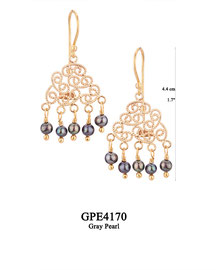 GPE4170 GP 72, OXI 62: HANGING EARRING, FILIGREE LOTUS FLOWER WITH 5 GREY PEARL DROPS.