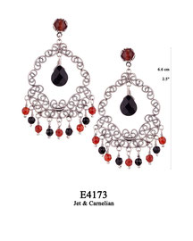 E4173 OXI 125, GP 145: EARRING TULIP CUP W/ CARNELIAN, FILIGREE LOTUS FLOWER JET IN CENTER & JET AND CARNELIAN MIX DROPS.