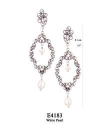 E4183 OXI 98, GP 108: EARRING POST, FILIGREE LOTUS FLOWER W/ WHITE PEARL IN CENTER & WHITE PEARL DROP.