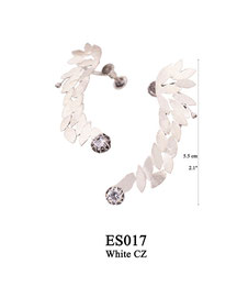 ES017 OXI 210, GP 240: EARRING POST, WITH WHITE CZ IN CUP, SOLID LOTUS FLOWER 5.5 CM W/ SCREW BACK FOR TOP OF EAR.