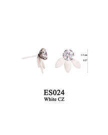ES024 OXI 44, GP 54:  EARRING POST, SOLID HALF LOTUS FLOWER WITH MED WHITE CZ IN CENTER.