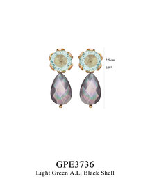 GPE3736: GP 69, G OF E GP POST EARRING LIGHT BLUE A.L. IN CUP BLACK SHELL DROP.