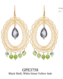 GPE3758: GP 145, G OF E GP HANGING EARRING OBLONG FILIGREE W/ BLACK SHELL DROP IN CENTER. WHITE GREEN YELLOW JADE ON THE BOTTOM.