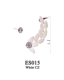 ES015 OXI 125, GP 145: EARRING POST, WITH WHITE CZ IN CUP, SOLID LOTUS FLOWERS 4CM W/ SCREW BACK FOR TOP OF EAR. WHITE CZ IN CUP.