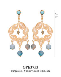 GPE3753: GP 129, G OF E GP POST EARRING TURQUOISE IN CUP 7 TEARDROP SHAPE  FILIGREE AROUND YELLOW GREEN BLUE JADE CENTER & BOTTOM.