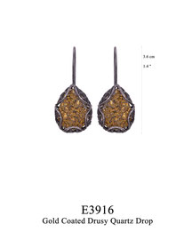 E3916: OXI 89, G OF E BLACK OXI HANGING EARRING WITH GOLD COATED DRUSY QUARTZ DROP.