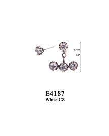 E4187 OXI 52, GP 62: EARRING POST, WITH WHITE CZ IN CUP, 3 HOLE BAR FILIGREE LOTUS FLOWER W/ 3 WHITE CZ IN CUPS FOR. WHITE CZ IN CUP.