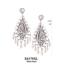 E4179XL OXI 140, GP 160: XL EARRING TULIP CUP W/ WHITE PEARL, FILIGREE LOTUS FLOWER W/ 7 WHITE PEARL DROPS.