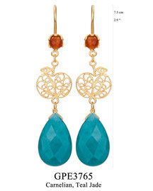 GPE3765: GP 95, G OF E GP HANGING EARRING CARNELIAN IN CUP, APPLE FILIGREE WITH TEAL JADE DROP.