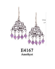 E4167 OXI 69, GP 79: HANGING EARRING, FILIGREE LOTUS FLOWER WITH 5 AMETHYST DROPS.