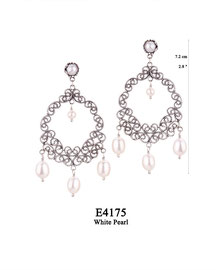 E4175 OXI 110, GP 130:  EARRING TULIP CUP W/ WHITE PEARL, FILIGREE LOTUS FLOWER WHITE PEARL IN CENTER & 3 WHITE PEARL DROPS.