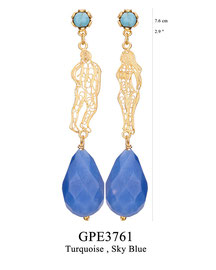 GPE3761: GP 95, G OF E GP EARRING TURQUOISE IN TULIP CUP. FILIGREE ADAM AND EVE. SKY BLUE DROP.