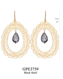 GPE3759: GP 129, G OF E GP HANGING EARRING OBLONG FILIGREE W/ BLACK SHELL DROP IN CENTER.