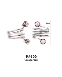 R4166 OXI 70:  SOLID RING, CORKSCREW BAND, LOTUS FLOWER W/ CREAM PEARL IN CUP ON EACH END.
