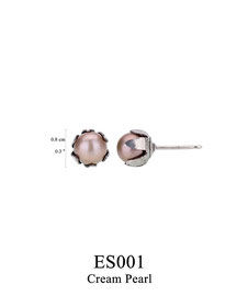 ES001: OXI 25, G OF E OXI POST EARRING  CREAM PEARL IN CUP.