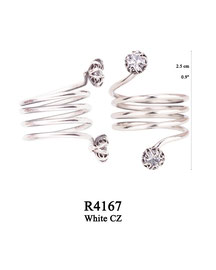 R4167 OXI 80: SOLID RING, CORKSCREW BAND, LOTUS FLOWER W/ WHITE CZ IN CUP ON EACH END.