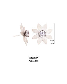 ES005 OXI 64, GP 74: EARRING POST, SOLID LOTUS FLOWER WITH WHITE CZ IN CENTER.