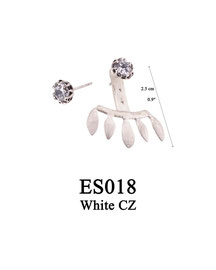 ES018 OXI 55, GP 65: EARRING POST, WITH WHITE CZ IN CUP, 3 HOLE BAR SOLID HALF LOTUS FLOWER DROP. WHITE CZ IN CUP.