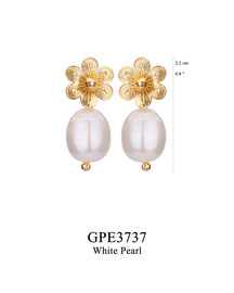 GPE3737: GP 45, G OF E GP POST EARRING FILIGREE FLOWER WITH WHITE PEARL DROP.