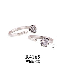 R4165 OXI 54: SOLID RING, LOTUS FLOWER W/ WHITE CZ IN CUP.