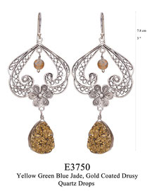 E3750: OXI 129, G OF E OXI HANGING EARRING FILIGREE SWIRLS W/FILIGREE FLOWER IN THE CENTER YELLOW GREEN BLUE JADE, GOLD COATED DRUSY QUARTZ DROP BOTTOM.