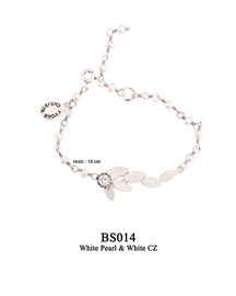 BS014 OXI 45, GP 59: BRACELET TWIST W/ WHITE PEARLS, WITH SOLID LOTUS FLOWER WHITE CZ ON TOP OF SOLID LOTUS FLOWER.