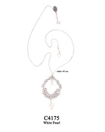 C4175 OXI 79, GP 99: CHAIN WITH FILIGREE LOTUS FLOWER PENDANT WHITE PEARL IN CENTER AND DROP.