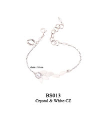 BS013 OXI 39, GP 49: BRACELET CHAIN, WITH SOLID LOTUS FLOWER  WHITE CZ ON TOP OF SOLID LOTUS FLOWER.
