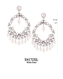 E4172XL OXI 145, GP 165: XL EARRING TULIP CUP W/ WHITE PEARL, FILIGREE LOTUS FLOWER W/ WHITE PEARL IN CENTER,  W/9 WHITE PEARL DROPS.