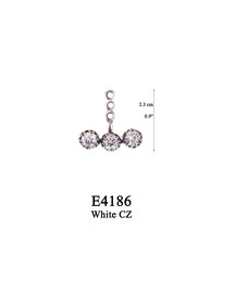 E4186 OXI 44, GP 50: EARRING, 3 HOLE BAR FILIGREE LOTUS FLOWER W/ 3 WHITE CZ IN CUPS.