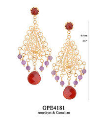 GPE4181 GP 160, OXI 140: EARRING TULIP CUP W/ CARNELIAN,FILIGREE LOTUS FLOWER W/CARNELIAN CENTER DROP W/ AMETHYST DROPS.
