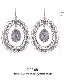 E3748: OXI 129, G OF E OXI HANGING EARRING OBLONG FILIGREE W/ SILVER COATED DRUSY QUARTZ DROP IN CENTER.