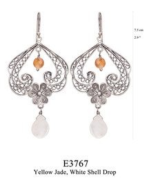 E3767: OXI 109, G OF E OXI HANGING EARRING FILIGREE SWIRLS W/FILIGREE FLOWER IN THE CENTER YELLOW JADE, WHITE SHELL DROP BOTTOM.