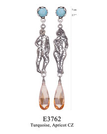 E3762: OXI 85, G OF E OXI EARRING TURQUOISE IN  TULIP CUP. FILIGREE ADAM AND EVE. APRICOT CZ DROP.