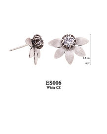 ES006 OXI 49, GP 55: EARRING POST, SOLID HALF LOTUS FLOWER WITH SM WHITE CZ IN CENTER.